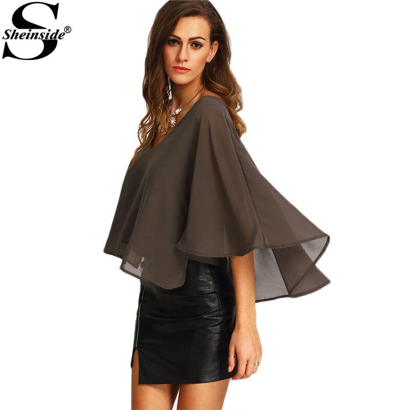 Sheinside 2016 summer style ladies grey v neck chiffon for Three quarter length shirt