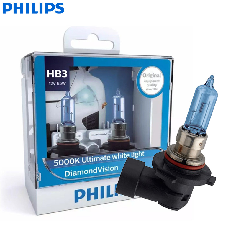 Philips Diamond Vision HB3 9005 12V 60W P20d 9005DVS2 5000K Cool White Car Halogen Headlight Auto Bulbs Fog Lamp (Twin Pack)