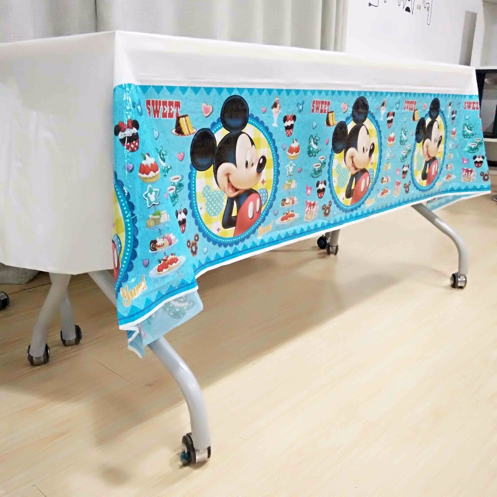 mickey mouse tablecloth kids birthday party decoration baby shower tablecover cartoon theme tableware festival party favors