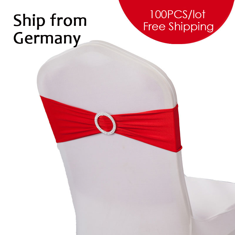 Send from GE 100PC Lot Wedding Linens Spandex Chair Bow Stretch Chair Band for Wedding Banquet
