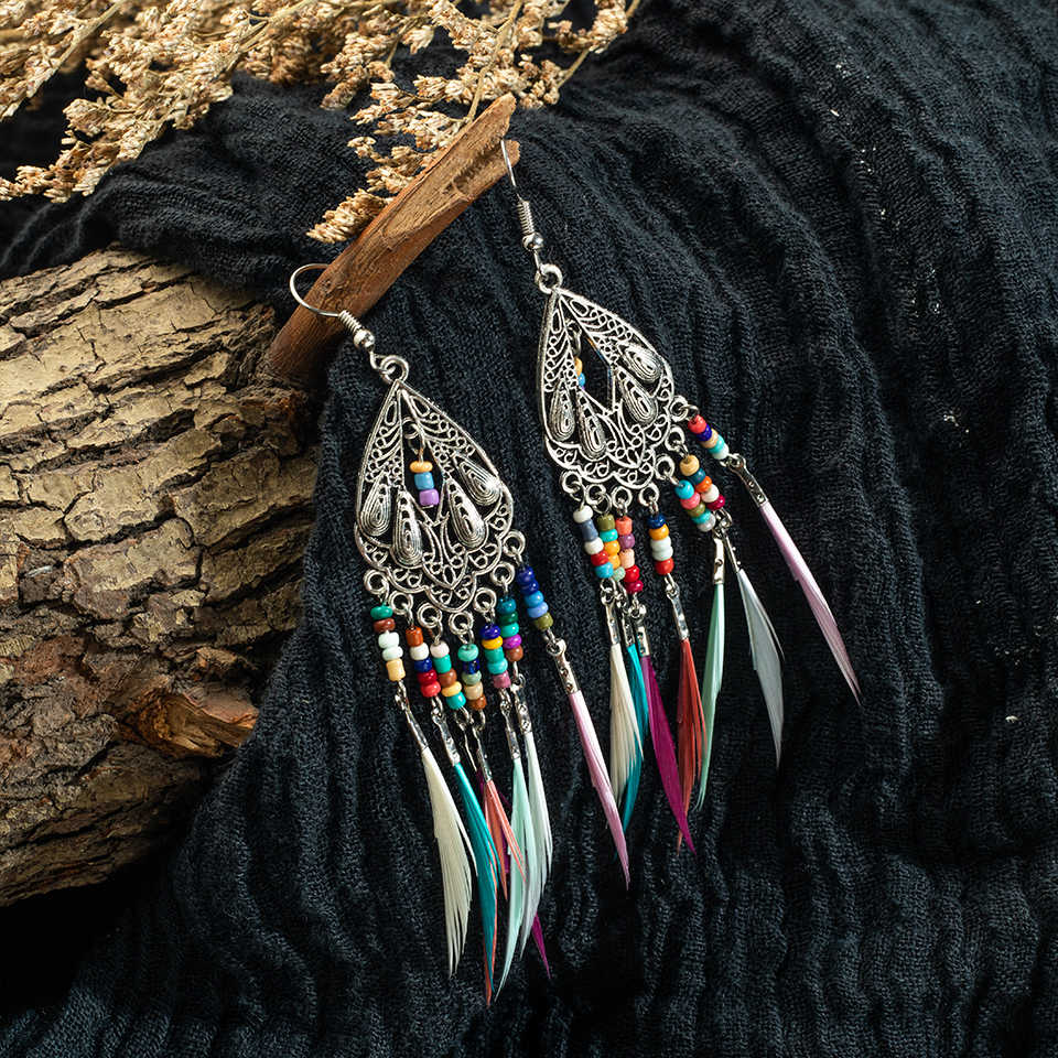 Fashion elegant feather tassels earrings 2019 Vintage boho long Drop Earrings for Women wedding indian jewelry party accessories