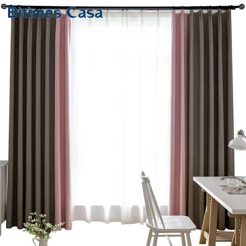 Tweed Color Spiicing Combination Blackout Windows Curtains Panels Drape For Bedroom Living Room Sliding Door Interior