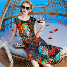 Women Summer Real silk Dresses Colorful Print Flower Loose Plus size Dress Unique Tribe XXXL L XL Size vestidos casuais 2019 женские блузки и рубашки unbrand 2015 vestidos l xxxl wcl211