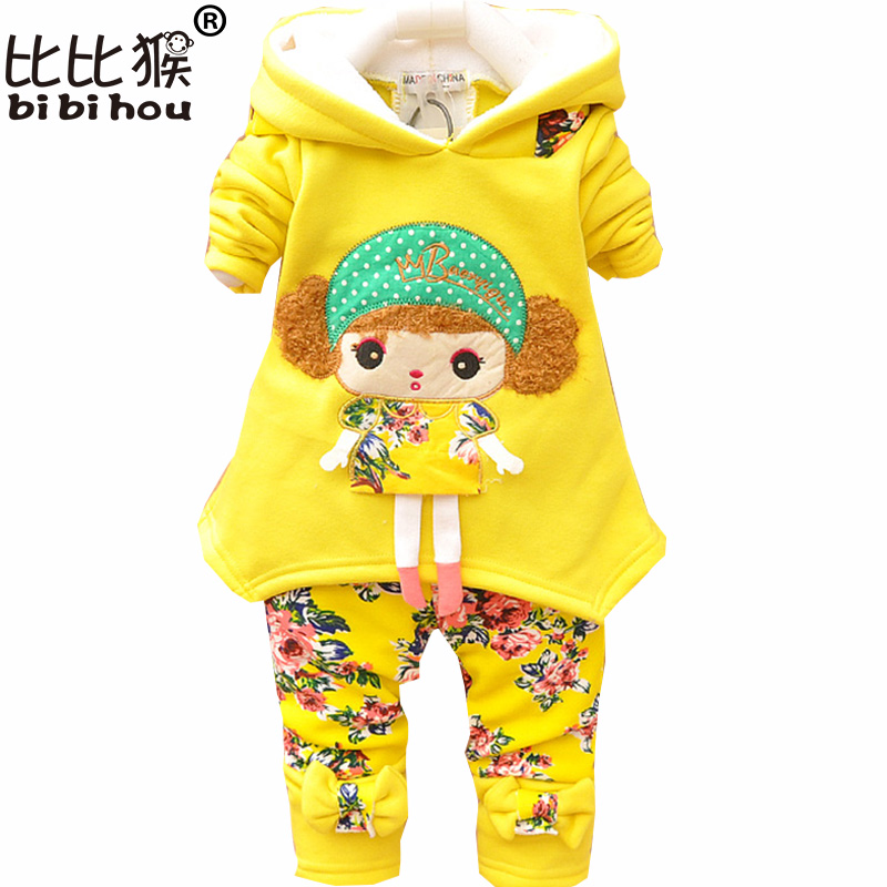 Bibihou 2017 baby girls warm winter suit thicken clothing sets children's hoodies set kids clothes set children christmas outfit