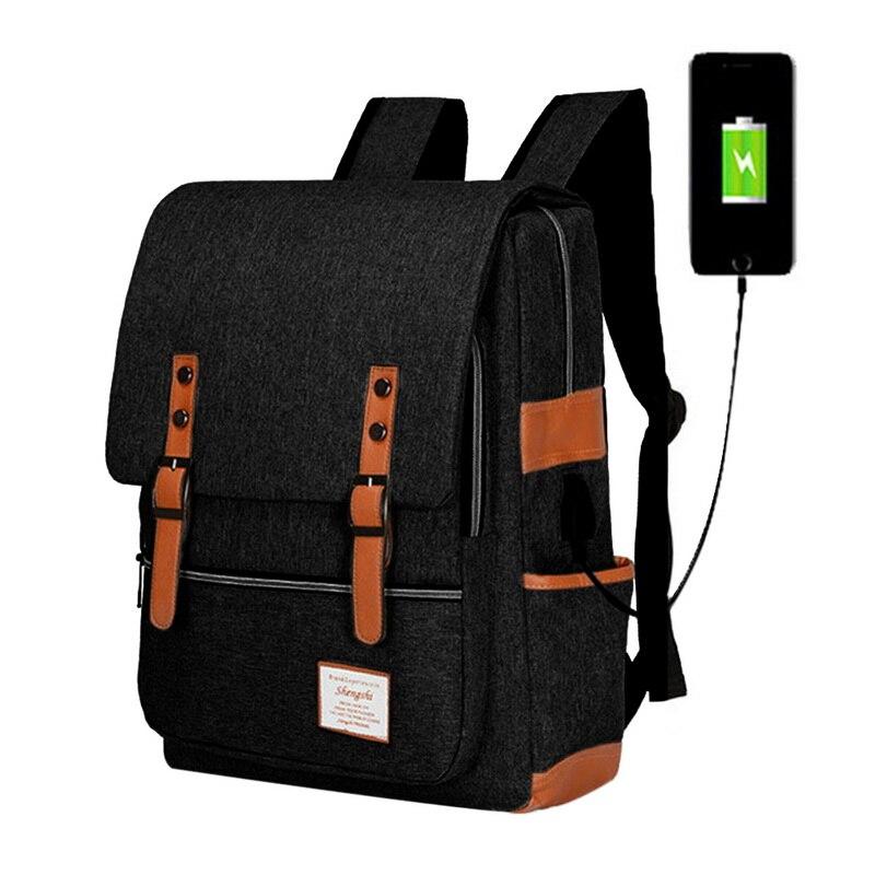 Vintage Usb Charging Canvas Backpacks School Teenagers Boys Girls Laptop Backpack Backpack