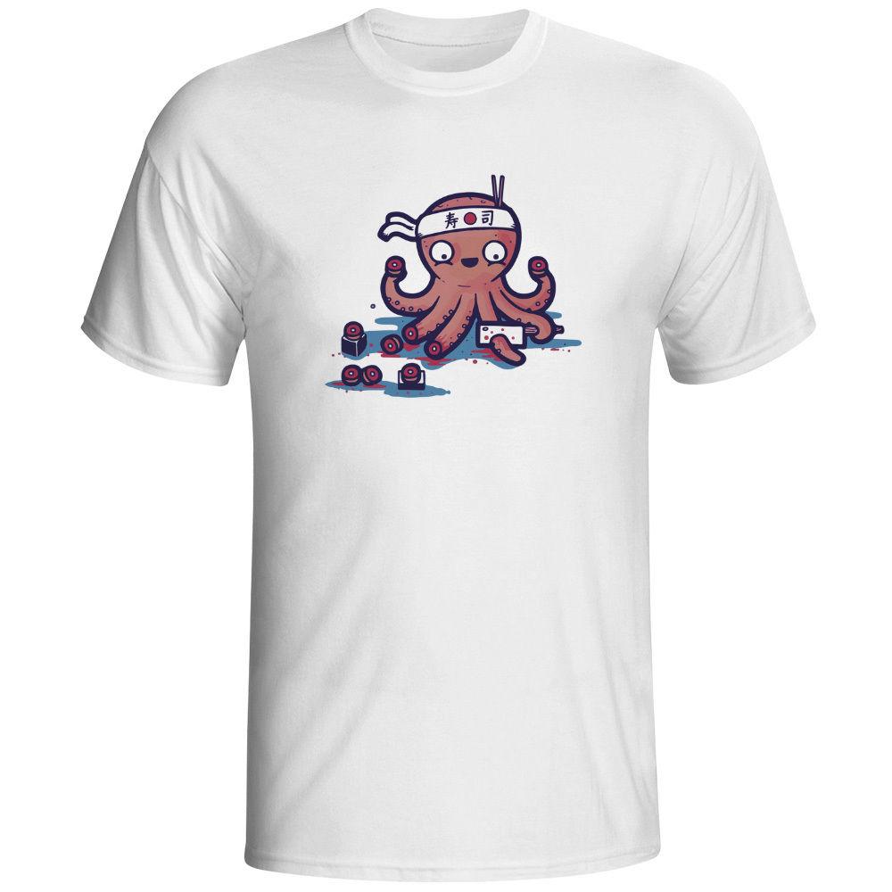 Shirt design octopus - Summer Dress O Neck Tees Sacrifice Myself For Your Sushi T Shirt Design Funny Geek