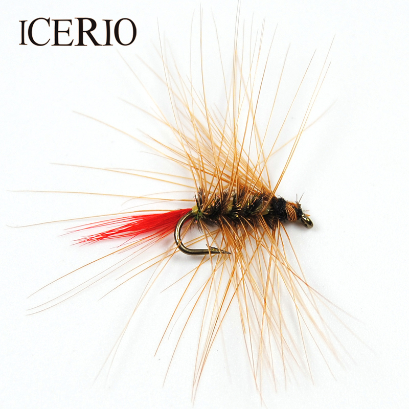 ICERIO 6PCS #12 Brown Nymph Bugger Wooly Worm Fly Trout Fly Fishing Baits