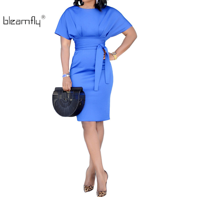 Summer Office Work Dress Women Solid Dresses Short Sleeve Ol Business Dress  Elegant Sheath Party Vestidos Blue Black Plus Size a53dabfbd851