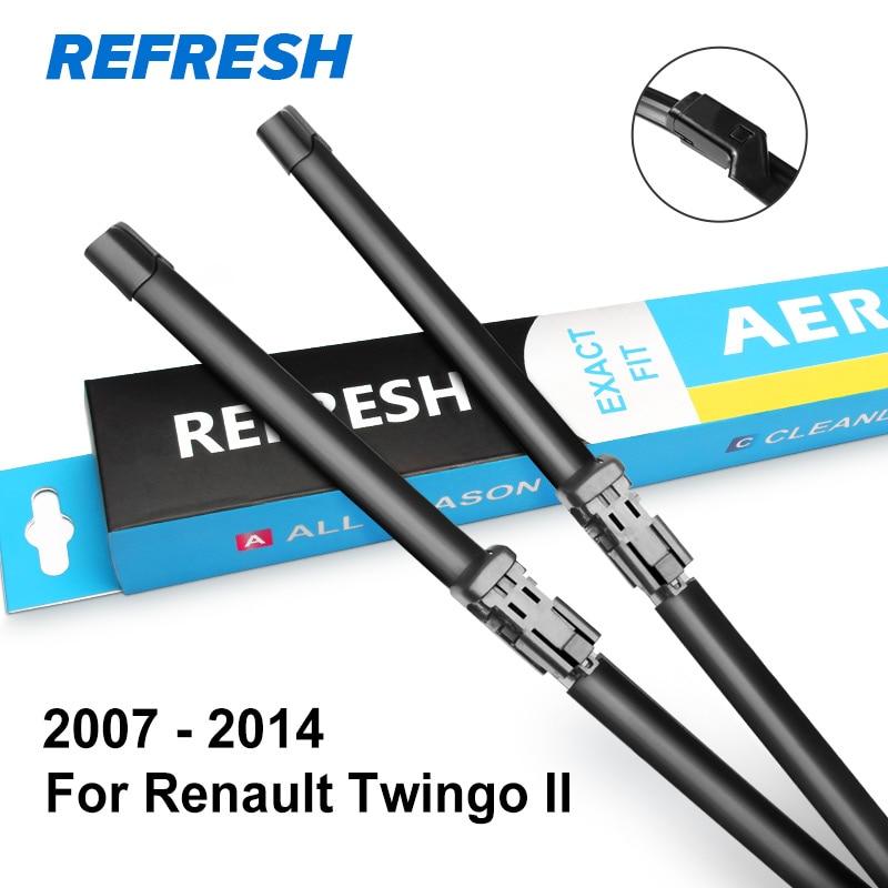 REFRESH Щетки стеклоочистителя для Renault Twingo Fit Push Button / Bayonet Arms Модельный год с 2007 по год - Цвет: 2007 - 2014 ( II )