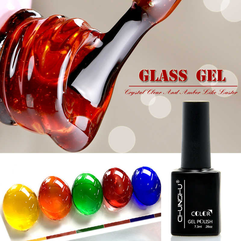7.3 Ml Transparan Amber Berwarna Gel Nail Varnish Gel Kuku Seni Manikur Uv Gel Nail Polish Lacquer Varnish Kaca Gel bahasa Polandia DIY