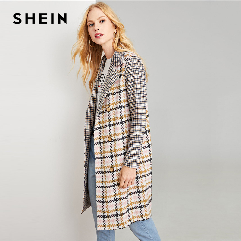 131840392e SHEIN Multicolor Office Lady Elegant Double Breasted Notched Neck Plaid Coat  Autumn Modern Lady Workwear Women Coats Outerwear-in Trench from Women's ...