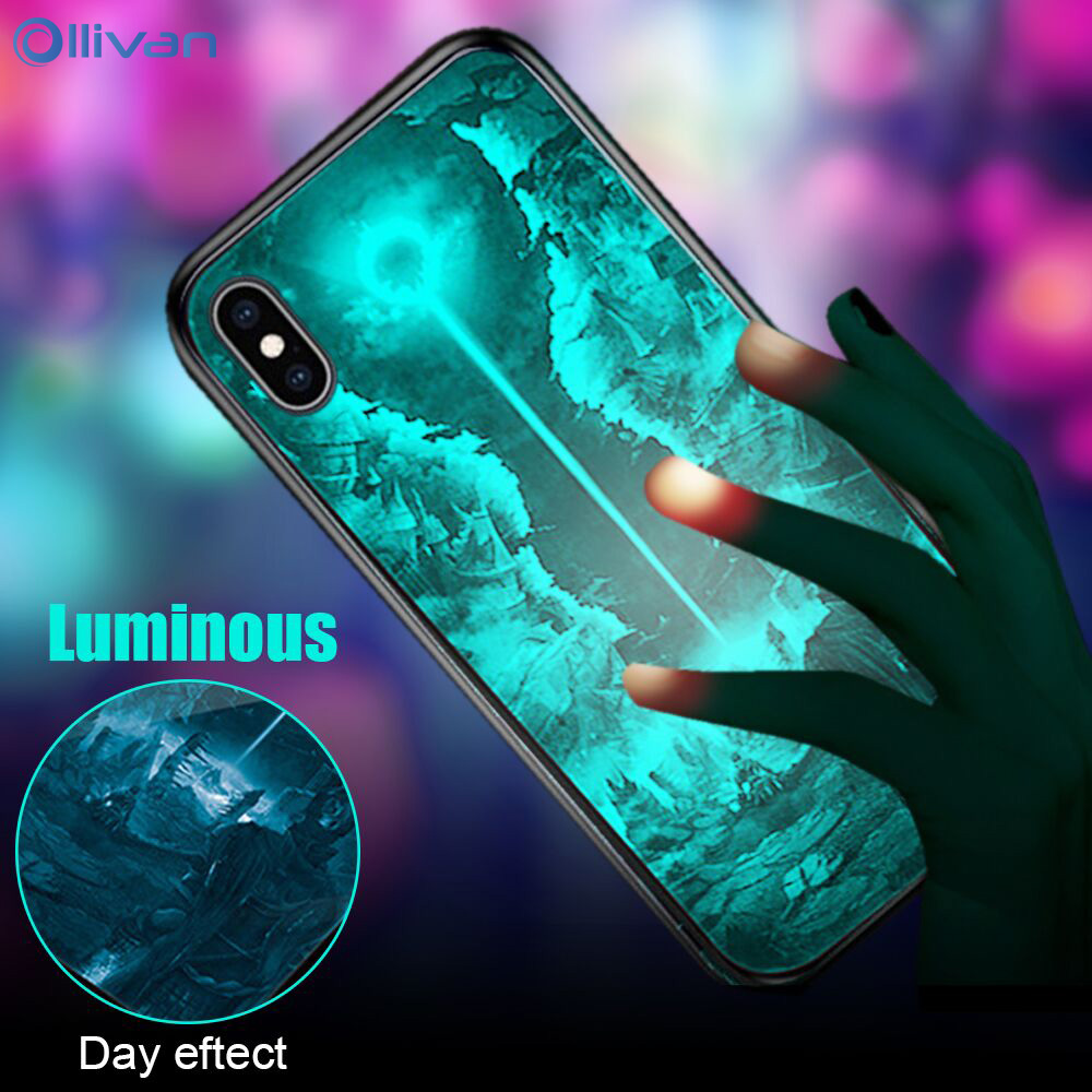 Luminous Glass Case For Xiaomi RedMi 6 Pro Note 8 7 5 Pro Mi 6 8 Lite A1 Tempered Glass Case For iPhone 11 Pro Max XR XS Cover(China)