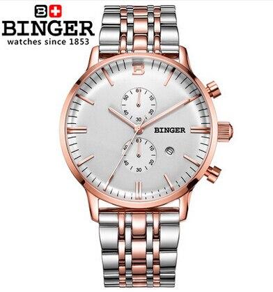 2016 Mens Watches Top Brand Luxury Quartz Watch Fashion Stainless steel Wristwatches Binger men relogios masculinos