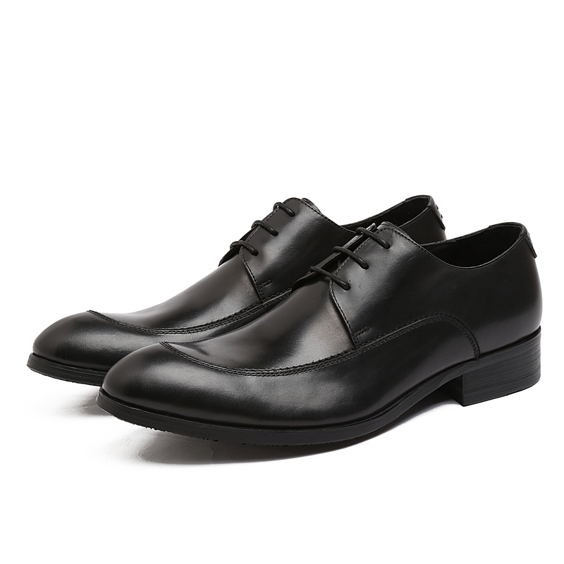 ФОТО 2017 Latest Fashion Men's Genuine Leather Oxfords Shoes Lace Up for Men Wedding Dress Party Shoes EU38-44 Black/Brown Color