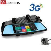 7 3G Car dvr mirror Dash cam DVR Camera GPS Navigation video recorder Bluetooth Dual Lens Wifi rearview mirror Camcorder