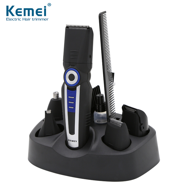 Kemei New Electric 6 in 1 Hair Clipper Trimmer Rechargeable Shaver Razor Face Care Cordless Adjustable Clipper