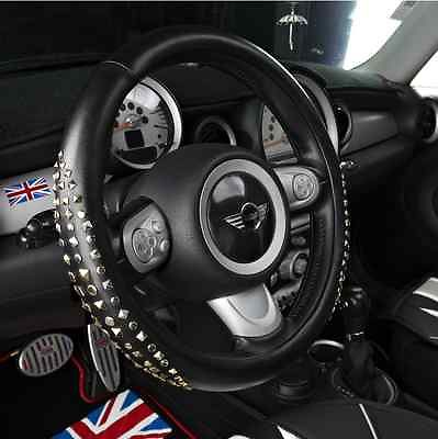 Luxury MCM Styles Leather Rivets Steering Wheel Cover for BMW Mini Cooper senior luxury hand knitted bv style car steering wheel cover for mini cooper