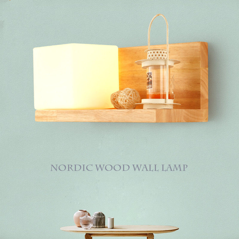 Modern Novelty Minimalist Wood Wall Lamp Frosted Glass Round Wood Wall Lights Indoor Home Decoration Bedroom 220V Zipper switch modern minimalist wall lamp solid wood lamps frosted glass oak lights indoor home lighting fixtures decoration bedroom sconce