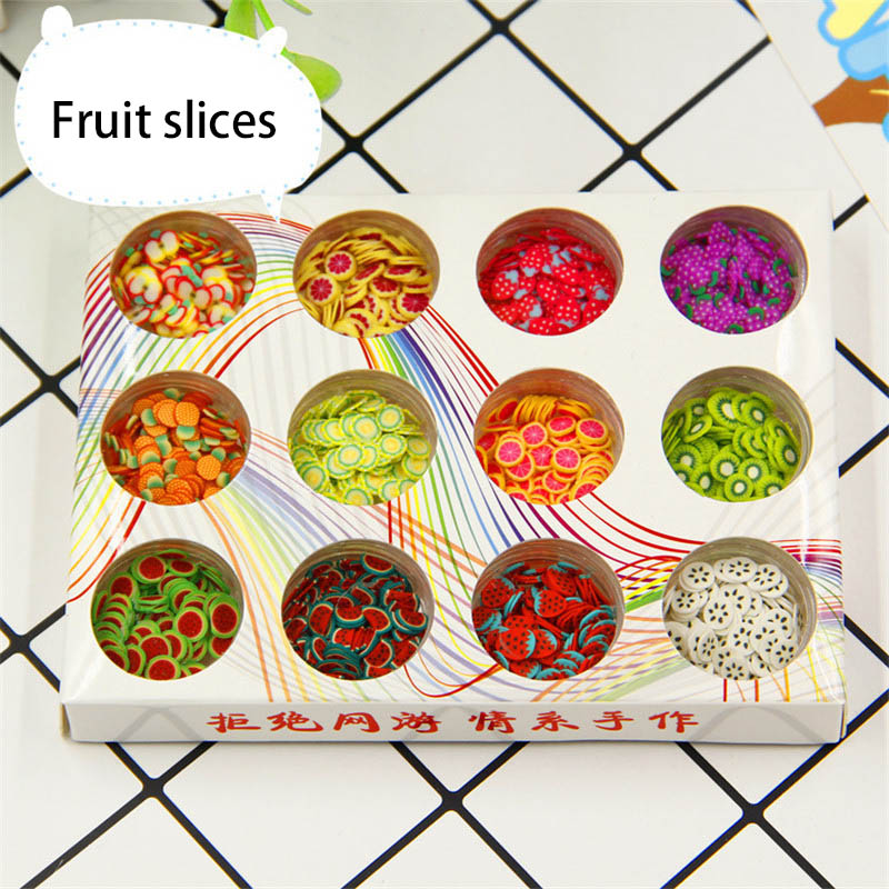 6 Type 3D Polymer Clay Tiny Fimo Fruit Slices Pearl Powder Sequins Fruit Slime Tool Kit Nails Art Balls For Kids DIY Accessories in Modeling Clay from Toys Hobbies