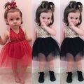 REINO UNIDO Flor Bebê Menina Vestido Formal Princesa Casamento Pageant Aniversário Bola Vestido Sem Mangas Vestidos de Festa Meninas Do Bebê