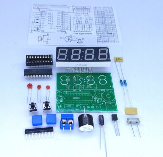 digital clock kit singlechip LED clock electronic production of bulk DIY (not including battery) clock