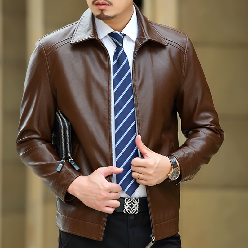Fashion Men Leather Jackets Autumn & Spring Pu Leather Clothes Soft Sheepskin Business Casual Coats For Men Male Biker Jackets,