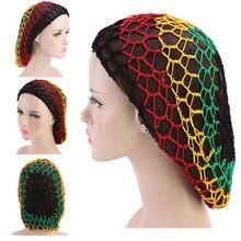 Женские ручные вязанные крючком мешочки для волос сетчатая шапочка для волос ночные Чепчики для сна инструмент#40