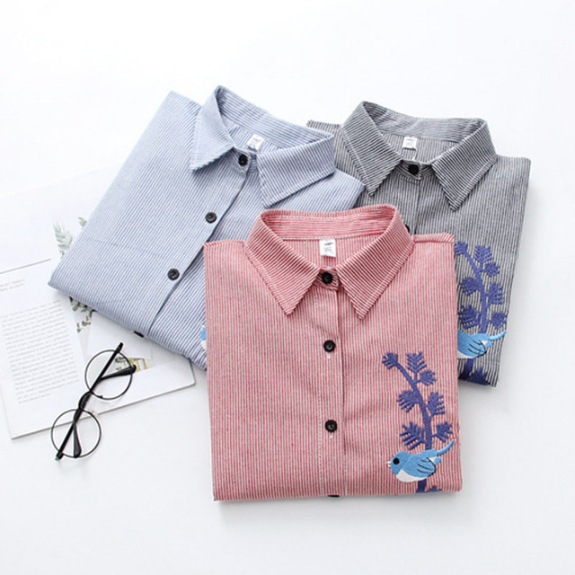 3d29af75ad9 2019 Embroidery Striped Women Blouses Spring Autumn Slim Fit Womens Shirt  Plus Size Red Blue Grey Casual Female Shirts Korean