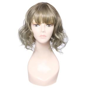Image 3 - L メールかつら薄型空気フリンジ強打女性かつら 5 色 40 センチメートル/15.74 インチショートカーリーヒートにくい人工毛 Perucas コスプレかつら