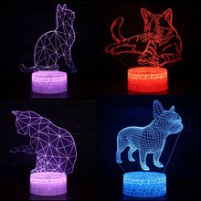 French Bulldog Cat Owl LED 3D Visual Illusion Night Light Creative Table Decoration USB Decorative Novelty Lamp Kids Gift
