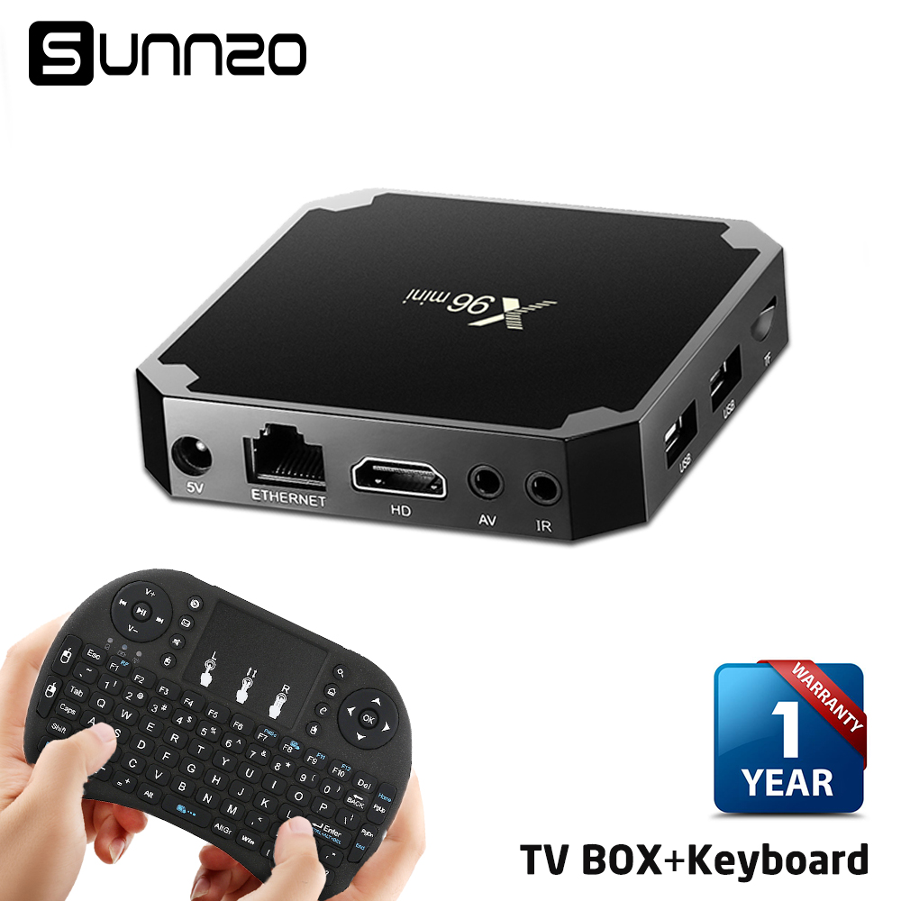 New X96 mini Android 7.1 TV BOX Amlogic S905W Quad Core 1+8GB Fully Loaded Kodi 17.3 Streaming Media Set-top Box + USB Keyboard new x95 tv box amlogic s905 quad core android 5 1 1 wifi bluetooth 4 0 1g 8g set top box mini i8 remote controller keyboard