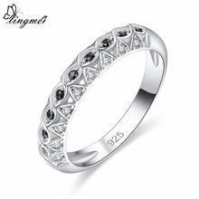 Женское кольцо lingmei модное свадебное в простом стиле с черным