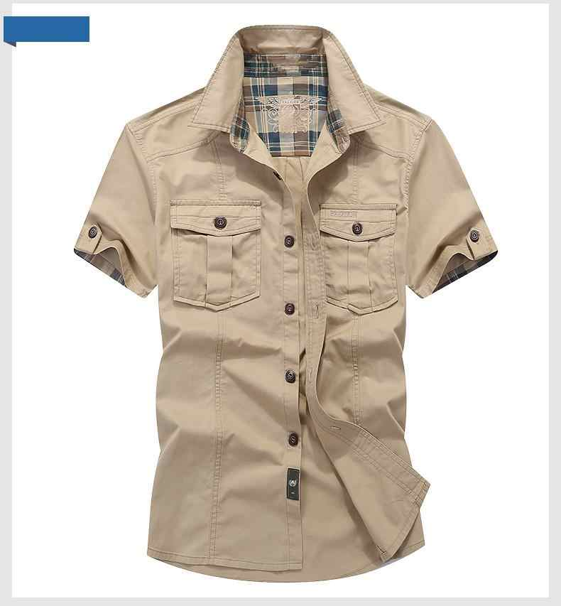 0f5c601e42 Loose Mens Blouses 2019 AFS JEEP Plaid Collar Casual Denim Shirts Military  Cargo Short Sleeve European and American 100% Cotton