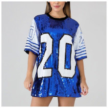 SG Fashion Sequin shining hip hop Dress Sorority Bling Zeta Phi Beta Top Sequin T shirts coat(China)
