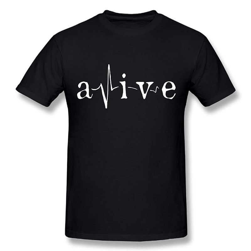 T Shirt Design Shop Short Sleeve Fashion 2018 Crew Neck Alive Support Heartbeat Tee Shirts For Men