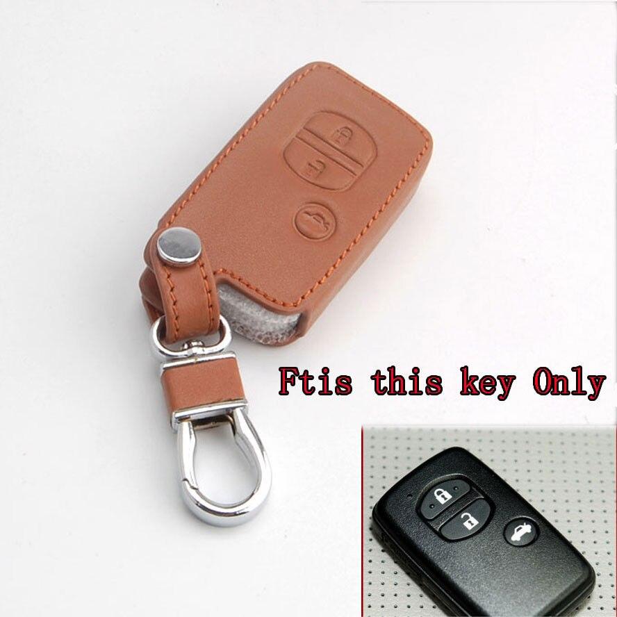 3 пуговицы коричневый кожаный автомобиль Smart Remote брелок держатель крышка ключа автомобиля чехол для ключей сумка для ключей подходит для ле...