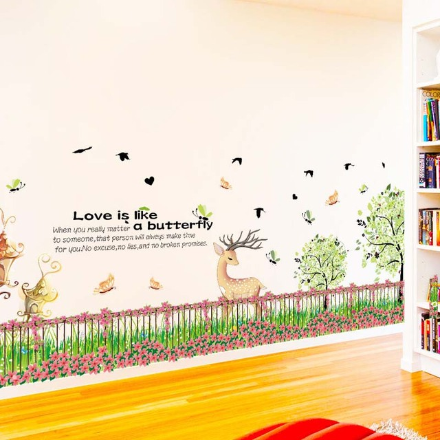 fence flower grass wall stickers pvc material green grass fawn