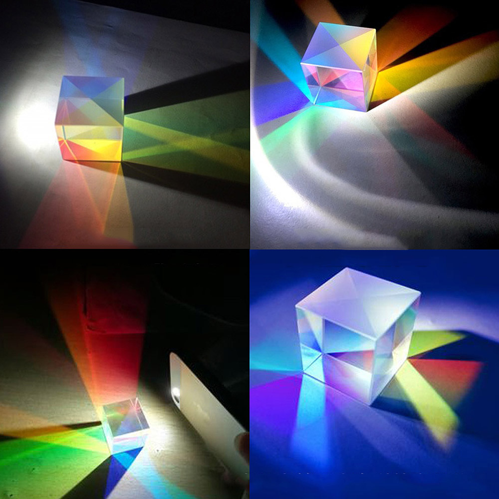 Six-Sided X-Cube Bright Light Cube Stained Glass Prism Beam Splitting Prism Optical Experiment Instrument Optical Lens