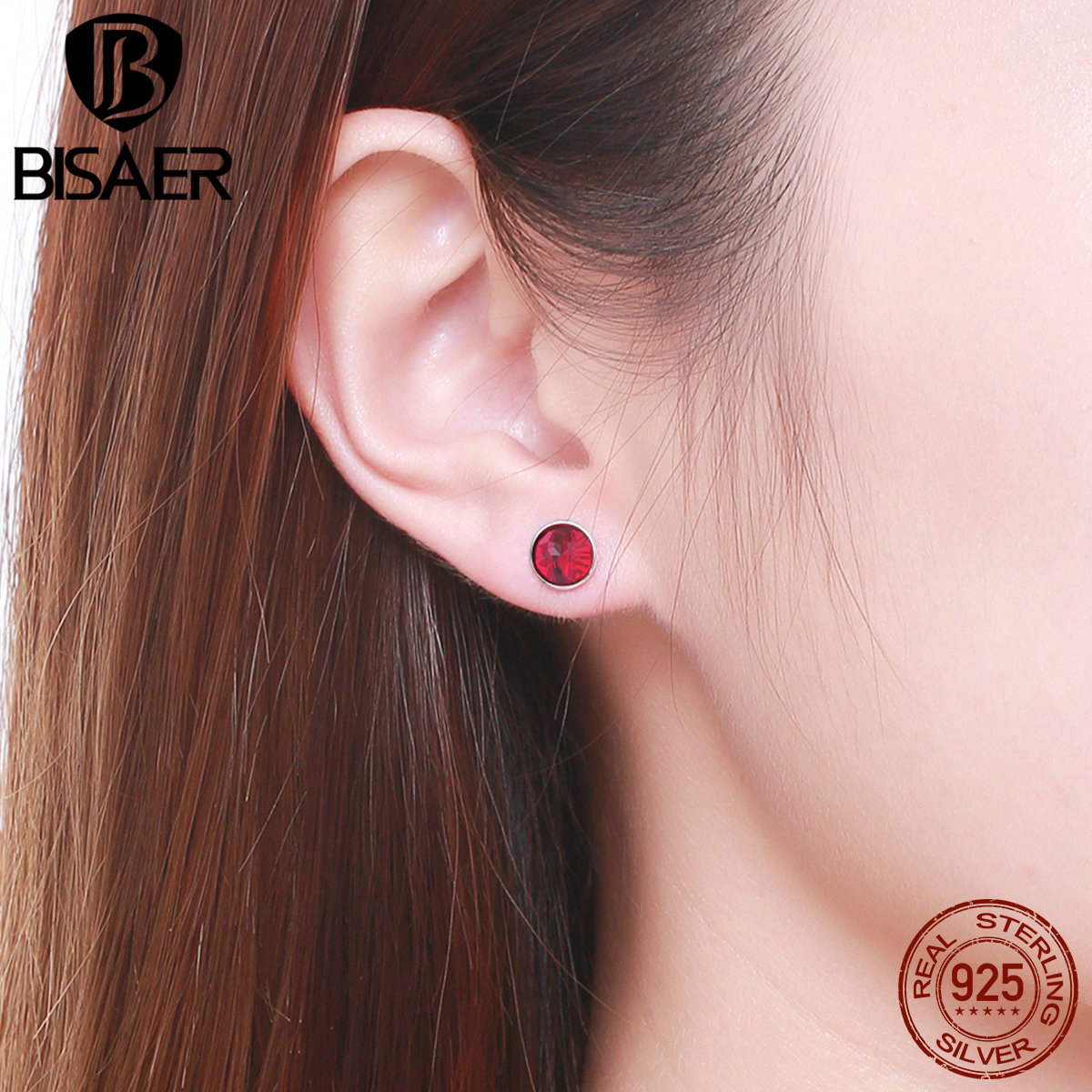 8 Color 100% 925 Sterling Silver Summer Style Simple Round Glass Stone Red Stud Earrings For Women Girl Earrings Fine Jewelry