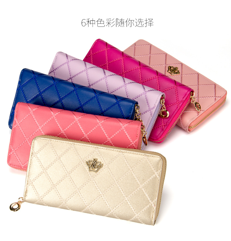 newest style female candy color Crown plaid big zipper long design women's wallet purse Clutch handbag Free Shipping 93#