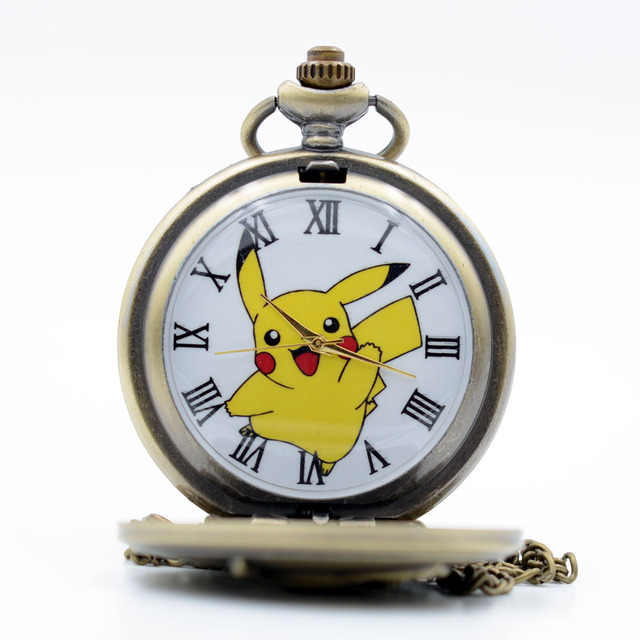 Big Size Pikachu Pokemon Bronze Quartz Pocket Watch Mens Womens Necklace Pendant