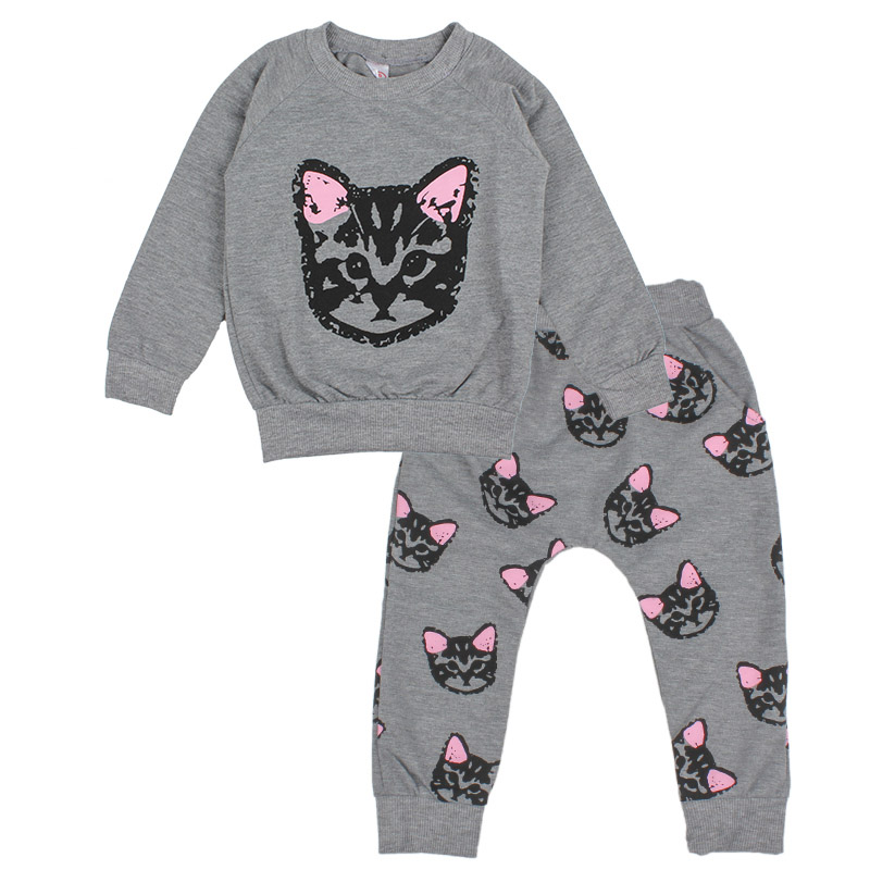 Girl Clothing Set Kids Cute Cat Print Sports Suit Children Tracksuit Long Sleeve Shirt Pants Gogging Sweatshirt Casual Clothes free shipping children clothing spring girl three dimensional embroidery 100% cotton suit long sleeve t shirt pants