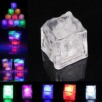 12 Pcs LED Ice Cubes Color Change Water Sensor Light For Romantic Party KTV Wedding Decor