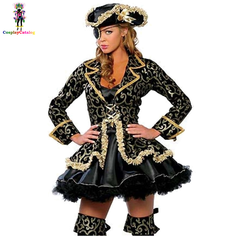 Single Eyed Caribbean Pirate Long Sleeve Luxurious Costume For Adults Sexy Women Halloween Steamy Decadent Pirate Costume M L XL