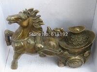 Бесплатная доставка 11.8 дюймов под старину фэншуй Home Decor принести богатство Скульптуры Коня Ремесел, Медь Lucky животных статуя
