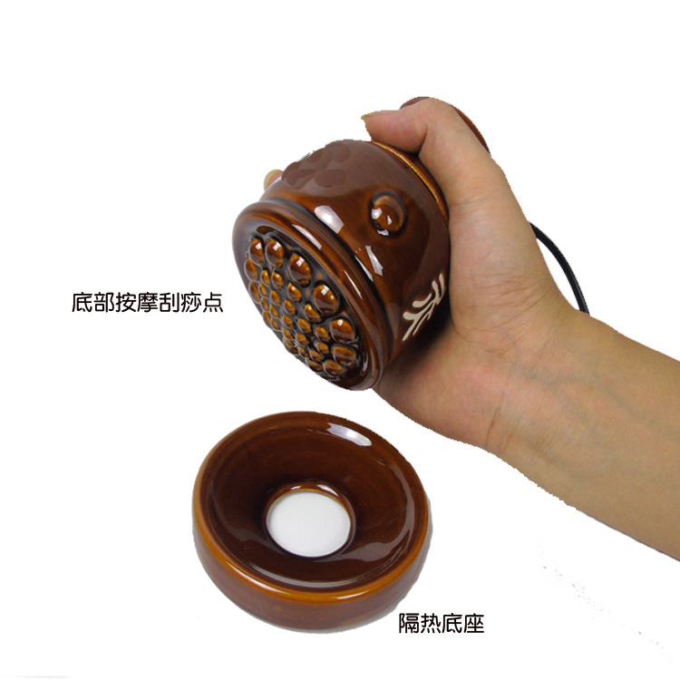 Electric Heating Ceramic Pot Scrapping Warming Massage Pot Meridian Acupuncture Point Therapy For Arm Leg Body Abdomen Home Use