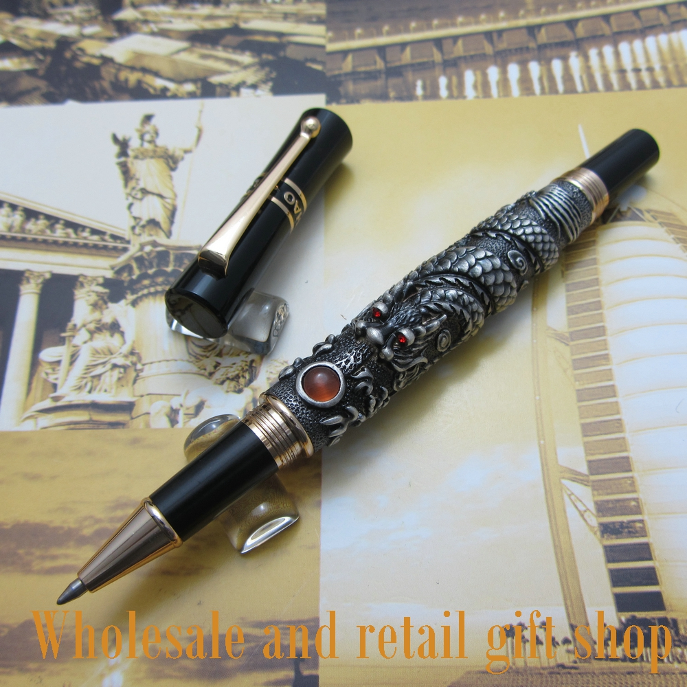 Jinhao Chinese Dragon thomsonae Roller Ball Pen with Gift Box Gold White Antique Silver Optional JT32R luxury roller ball pen  jinhao chinese
