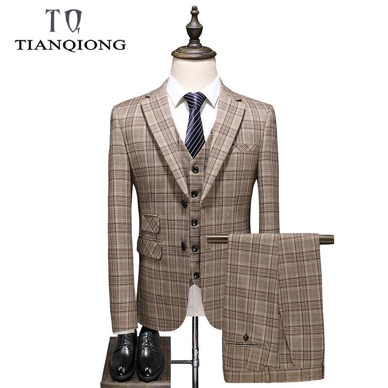 Suit For Men Slim Fit Men Plaid Suit High Quality Groom Wedding Design Suit 3 Piece(Blazer+Pants+Vest) Mariage Gentlemen Costume
