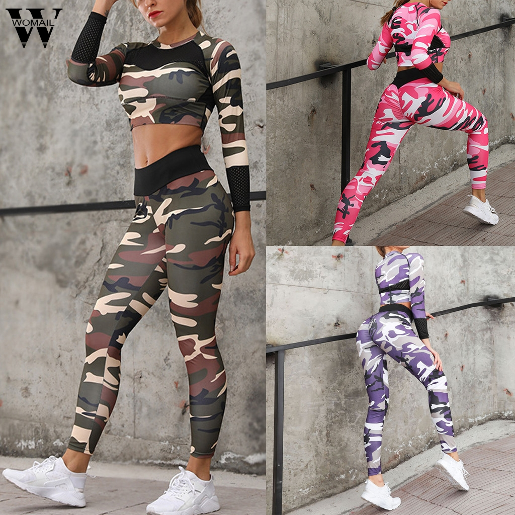 Womail Women tracksuit summer Casual 2 Piece Fashion Sexy Camouflage Print Long Sleeve High Waist Top +Sports slim holiday J620