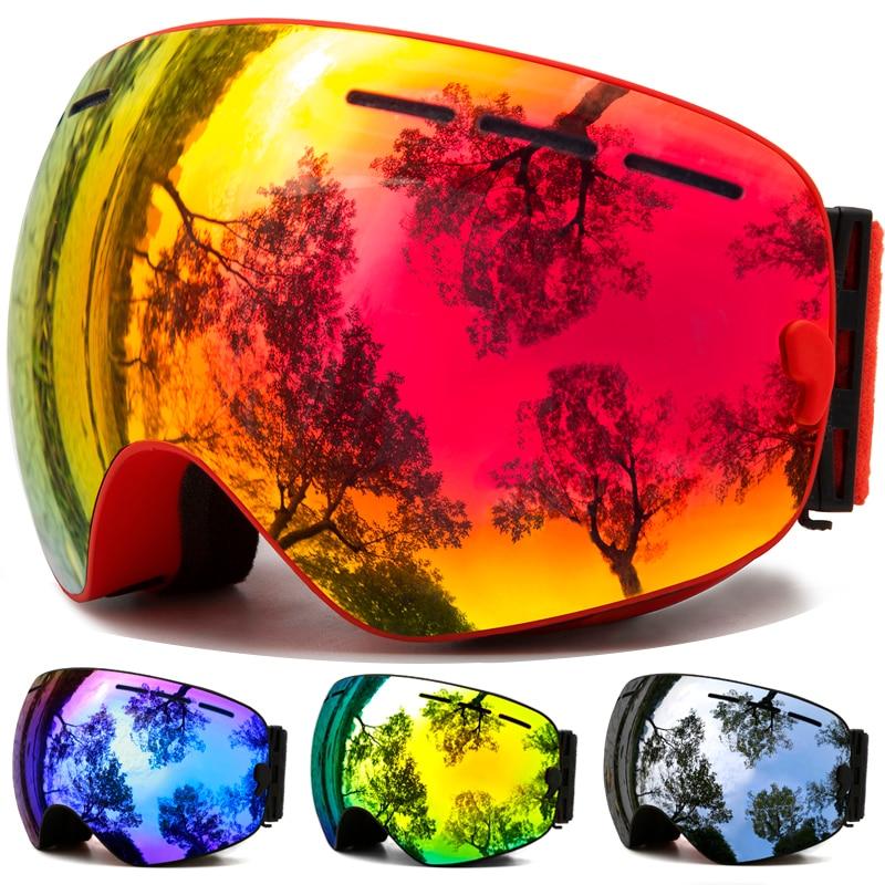 De Esquí gafas invierno deportes de nieve Snowboard gafas Anti-vaho protección UV para hombres y mujeres jóvenes en moto de nieve esquí de patinaje máscara
